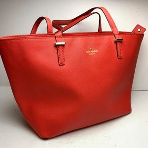 KATE SPADE Red Large Tote Genuine Leather Purse